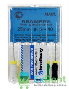 Reamers №15-40, 25 мм, Mani, каналорасширитель (дрильбор) ручной (6 шт)