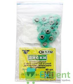 Диски шлифовальные с металлической втулкой зеленые, для предварительного шлифования, 10 мм (40 шт)