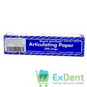 Артикуляционная бумага прямая, синяя длинная Bausch (40 мкм х 200 шт)