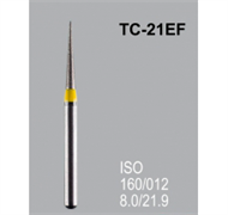Боры алмазные Mani TC-21EF 160/014 FG - конусообразный, острый кончик, желтый (5 шт)