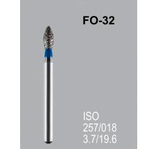 Боры алмазные Mani FO-32 257/018 FG - пламяобразный, стрельчатый кончик, синий (5 шт)