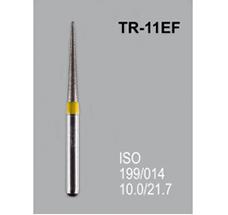 Боры алмазные Mani TR-11EF 199/016 FG - конусообразный, закругленный кончик, желтый (5 шт)