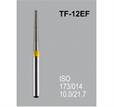 Боры алмазные Mani TF-12EF 173/016 FG - конусообразный, плоский кончик, желтый (5 шт)