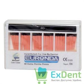 Гуттаперчивые штифты 04 №40 Euronda - для пломбирования корневых каналов (60 шт)