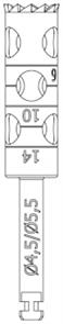 RF229L-045-RAL Хирургический инструмент NTI, хвостовик длинный для углового наконечника, трепан длин