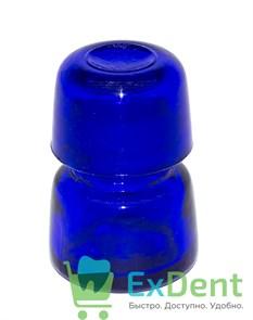 Емкость стеклянная для жидкостей с крышкой, круглая, синяя (10 мл)