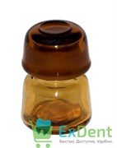 Емкость стеклянная для жидкостей с крышкой, круглая, коричневая (10 мл)