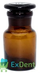 Емкость стеклянная для жидкостей с крышкой, круглая, коричневая (30 мл)