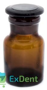 Емкость стеклянная для жидкостей с крышкой, круглая, коричневая (60 мл)