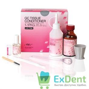 Tissue conditioner, Live Pink, кондиционер для тканей, мягкий акриловый материал 90g порошок, 101ml жидкость, 15ml Coating