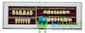 Гарнитур акриловых зубов А3 1/47H-0/6D 1/72H-1/72D - Spofadental Plus, трехслойные (28 шт)