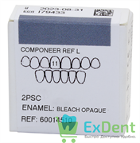 Componeer Ref. Upper L - Dentin Bleach Opaque - 11 - виниры на верхний ряд (2 шт)