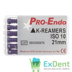 K-Reamers №10, 21 мм, Pro-Endo, для препарирования канала, нержавеющая сталь (6 шт)