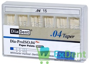 Бумажные штифты 04 №15 DiaDent для удаления влаги в канале (100 шт)