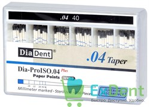 Бумажные штифты 04 №40 DiaDent для удаления влаги в канале (100 шт)