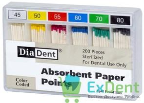 Бумажные штифты 02 №45-80 DiaDent для удаления влаги в канале (200 шт)