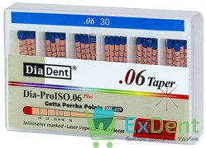 Гуттаперчивые штифты 06 №30 DiaDent для пломбирования корневых каналов (60 шт)