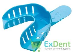 Ложка для слепков, пластмассовая, перфорированная L (№2), низ, синяя