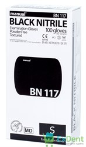 Перчатки Manual S нитриловые черные, неопудренные, гипоаллергенные (100 шт)