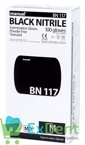 Перчатки Manual M нитриловые черные, неопудренные, гипоаллергенные (100 шт)