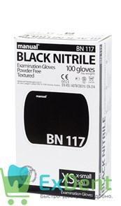Перчатки Manual XS нитриловые черные, неопудренные, гипоаллергенные (100 шт)