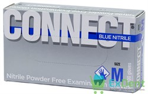Перчатки Connect blue M, нитриловые, неопудренные, нестерильные, смотровые (100 шт)