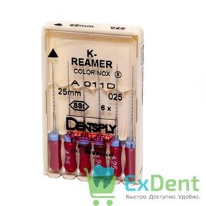 K-Reamers №25, 25 мм, Dentsply, каналорасширитель для препарирования канала (6 шт)