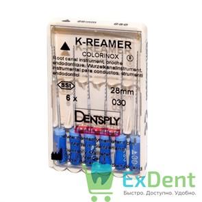 K-Reamers №30, 28 мм, Dentsply, каналорасширитель для препарирования канала (6 шт)