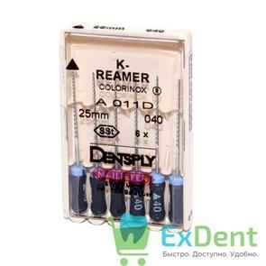 K-Reamers №40, 25 мм, Dentsply, каналорасширитель для препарирования канала (6 шт)