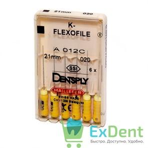 K-Flexofile №20, 21 мм Dentsply из нержавеющей стали, для препарирования канала (6 шт)