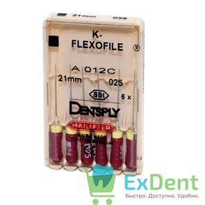 K-Flexofile №25, 21 Dentsply из нержавеющей стали, для препарирования канала (6 шт)