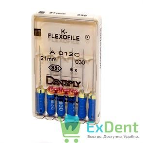 K-Flexofile №30, 21 Dentsply из нержавеющей стали, для препарирования канала (6 шт)