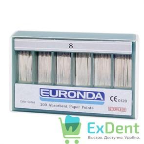 Бумажные штифты 02 №08 EURONDA - для удаления влаги в канале (200 шт)