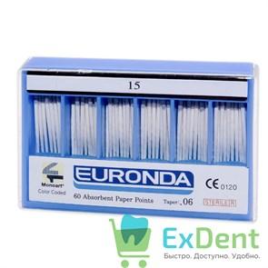 Бумажные штифты 06 №15 EURONDA - для удаления влаги в канале (60 шт)