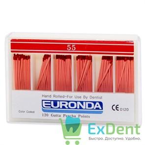 Гуттаперчивые штифты 02 №55 Euronda - для пломбирования корневых каналов (120 шт)