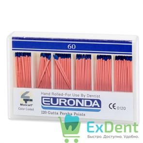 Гуттаперчивые штифты 02 №60 Euronda - для пломбирования корневых каналов (120 шт)