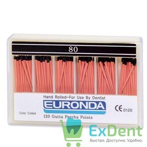 Гуттаперчивые штифты 02 №80 Euronda - для пломбирования корневых каналов (120 шт)