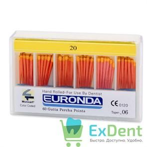Гуттаперчивые штифты 06 №20 Euronda - для пломбирования корневых каналов (60 шт)