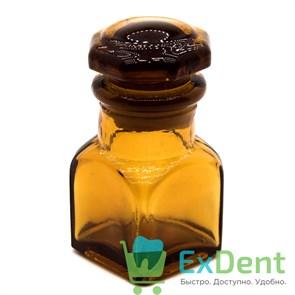 Емкость стеклянная для жидкостей с крышкой, квадратная, коричневая (10 мл)