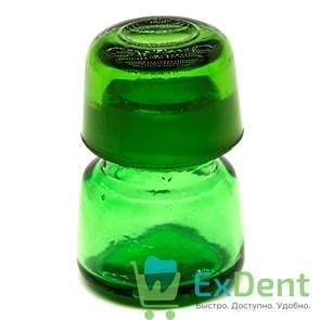 Емкость стеклянная для жидкостей с крышкой, круглая, зеленая (10 мл)