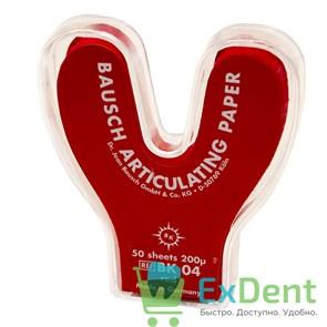 Артикуляционная бумага подковообразная, красная Bausch (200 мкм х 50 шт)