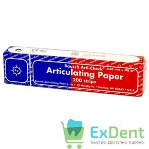 Артикуляционная бумага прямая, синяя / красная длинная Bausch (40 мкм х 200 шт)