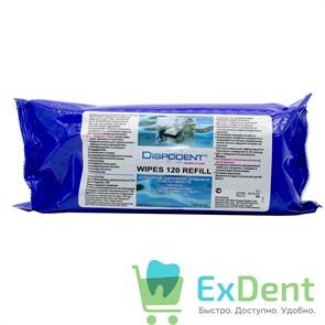 Салфетки дезинфецирующие Dispodent Wipes, пенящиеся, сменный блок (120 шт)