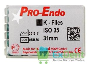 K-Files №35, 31 мм, Pro-Endo, для препарирования канала, нержавеющая сталь (6 шт)