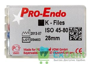 K-Files №45-80, 28 мм, Pro-Endo, для препарирования канала, нержавеющая сталь (6 шт)