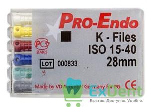 K-Files №15-40, 28 мм, Pro-Endo, для препарирования канала, нержавеющая сталь (6 шт)