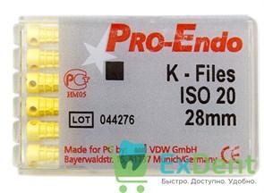 K-Files №20, 28 мм, Pro-Endo, для препарирования канала, нержавеющая сталь (6 шт)