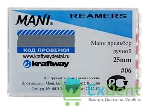 Reamers №6, 25 мм, Mani, каналорасширитель (дрильбор) ручной (6 шт)